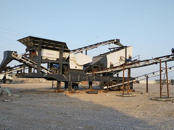 Mobile crushing plant work site in Tajikistan